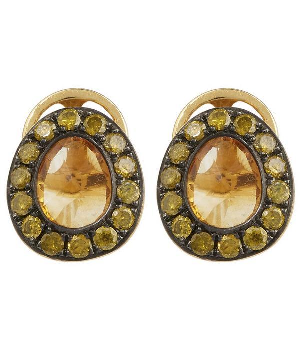 Dusty Diamond Citrine Stud Earrings