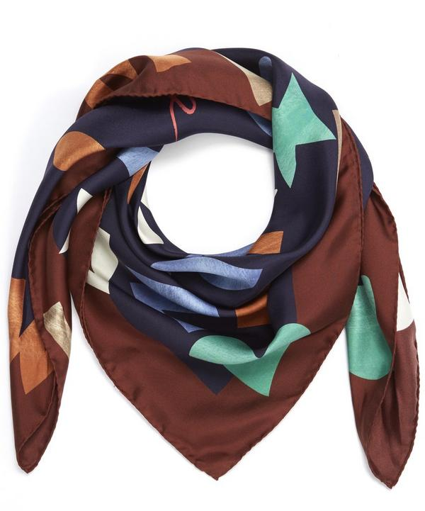 Heart and Crown Print Silk Scarf