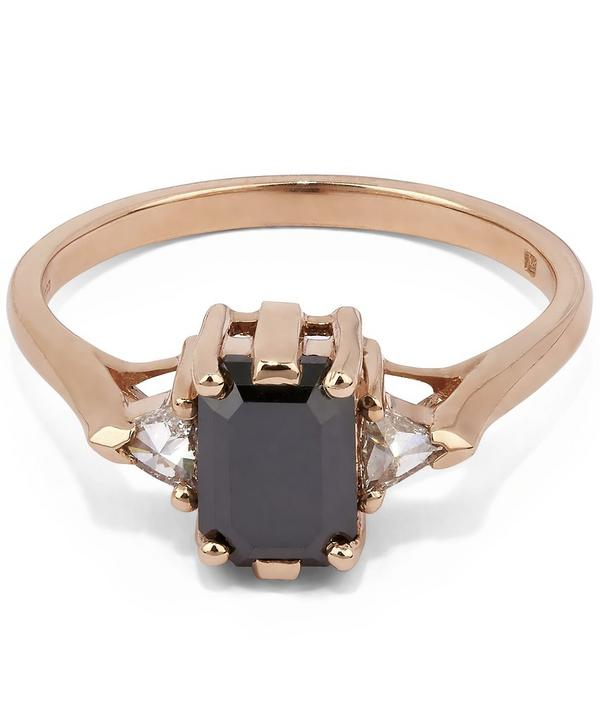 Rose Gold Black Diamond Bea Three Stone Ring