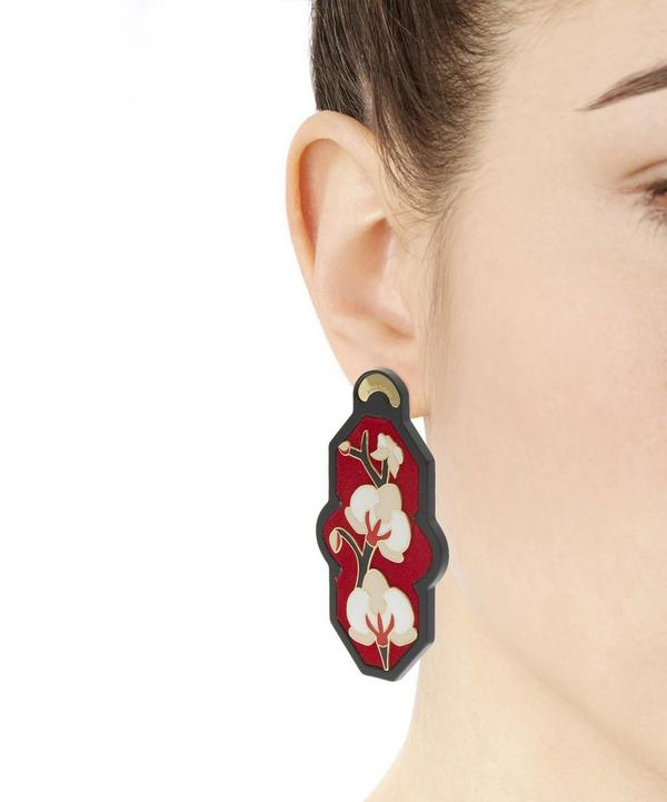 Gold-Plated Brasile Orchid Velvet Earrings