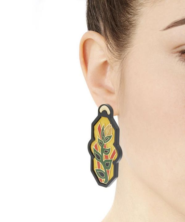 Gold-Plated Brasile Flower Velvet Earrings