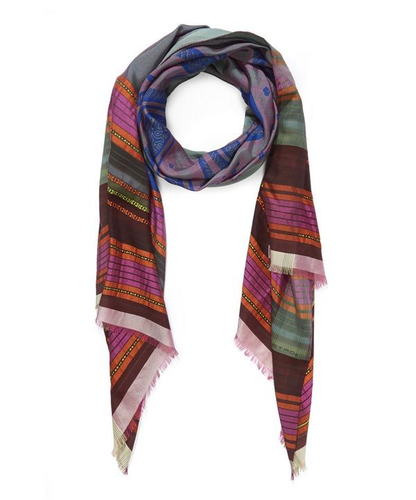 Shaal Nur Striped Cotton Blend Scarf