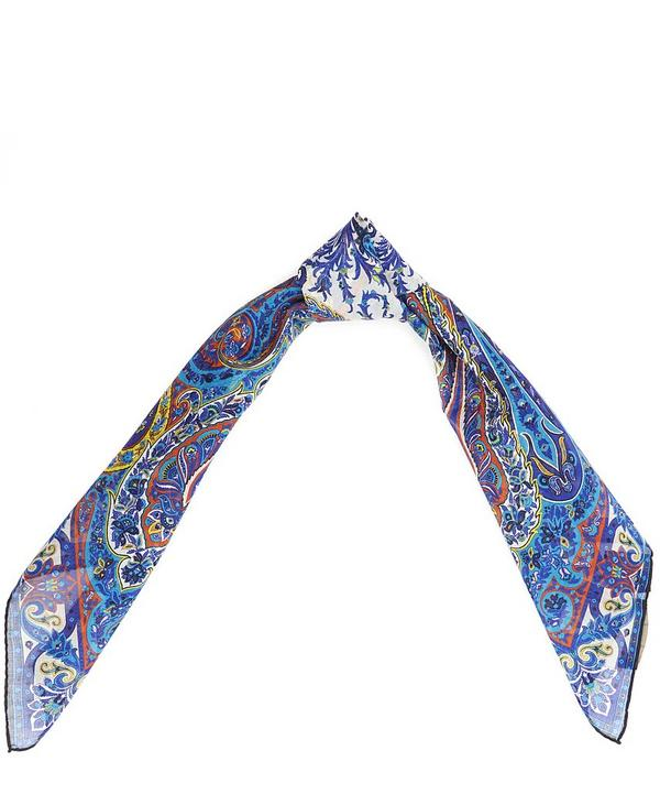 Small Paisley Print Cotton Square Scarf