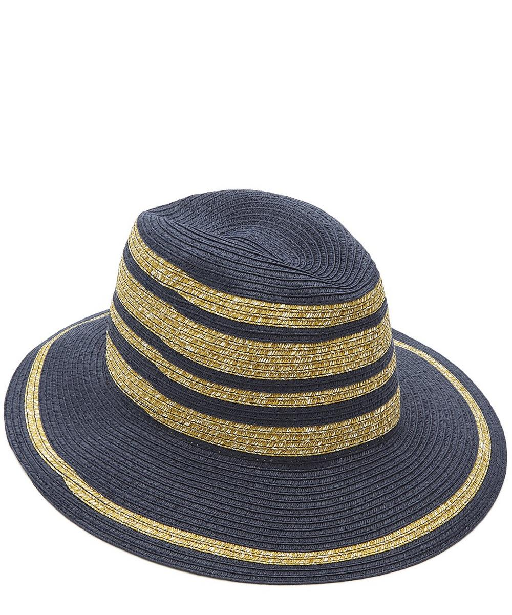Woven Striped Trilby Hat