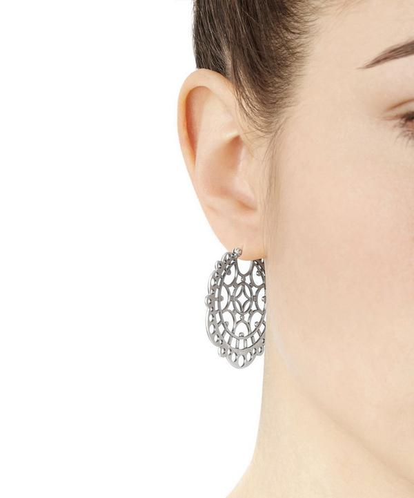 Silver Pagada Creole Large Lace Earrings