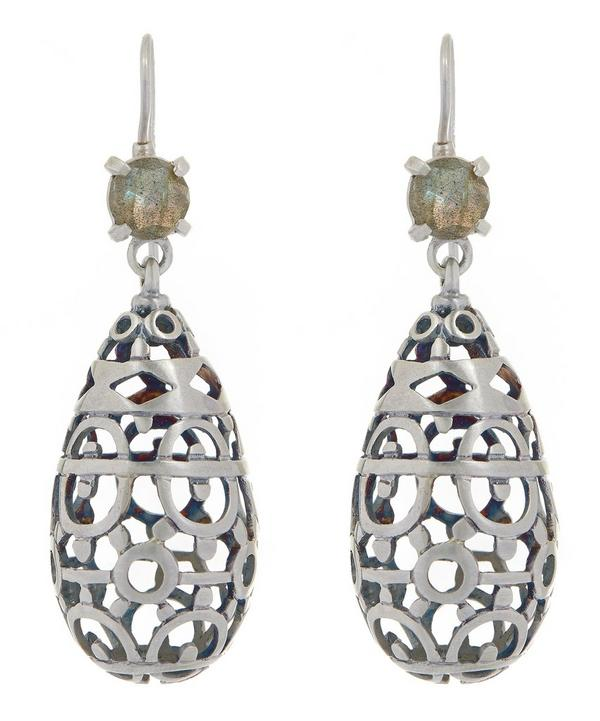 Silver Perugine Oval Earrings
