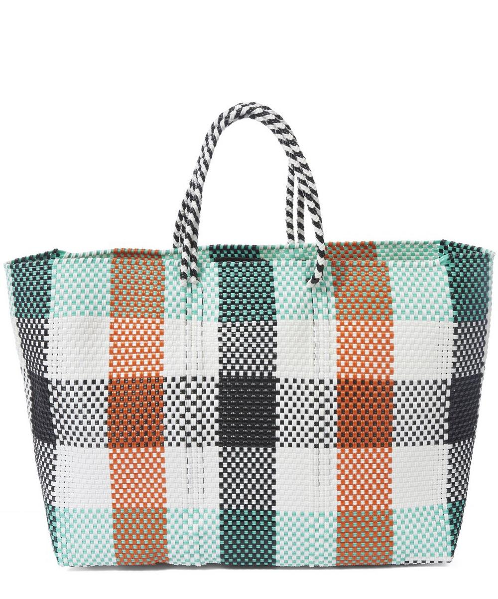Large Woven Checked Tote Bag
