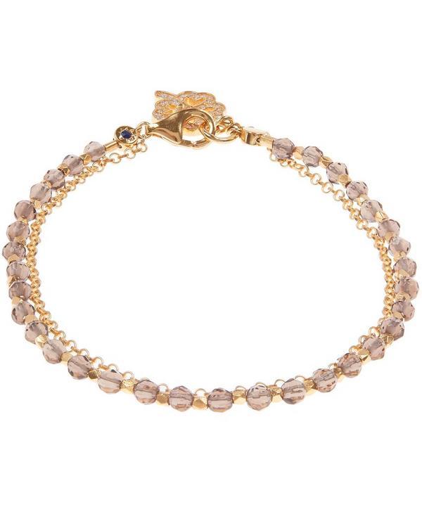 Gold-Plated Smoky Quartz Four Leaf Clover Biography Bracelet