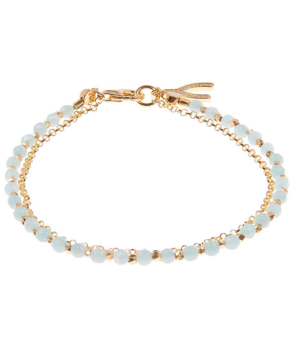 Gold-Plated Amazonite Wishbone Biography Bracelet