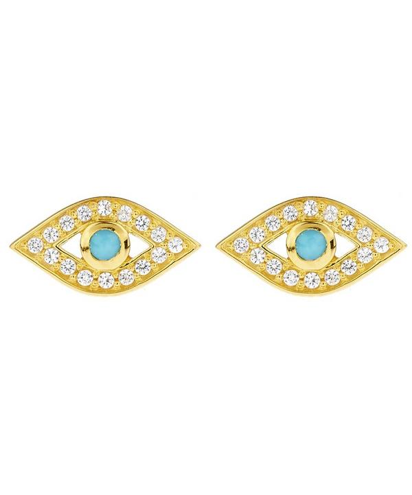 Gold Mini Evil Eye Biography Stud Earrings