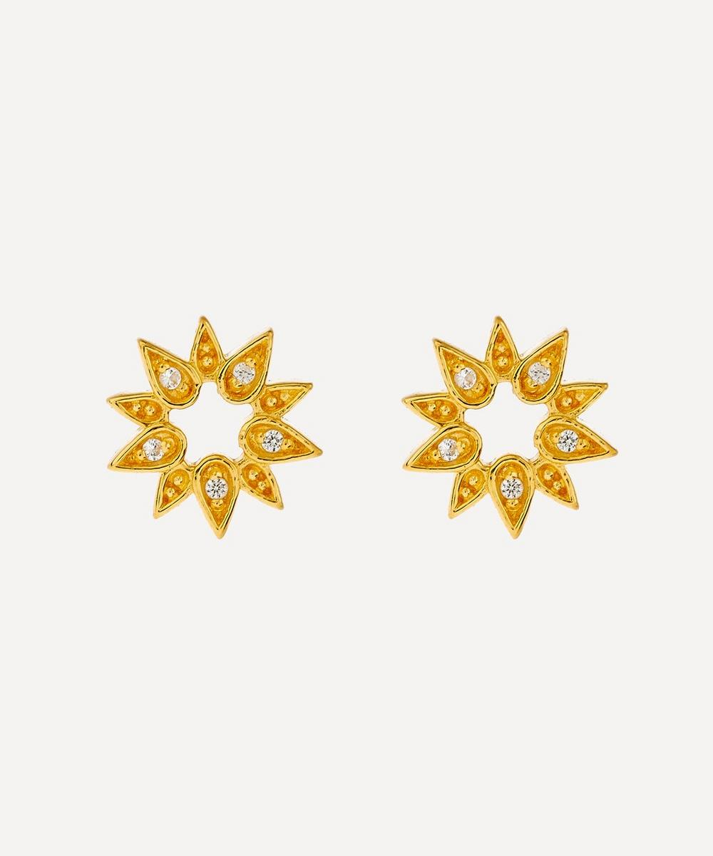 Gold Mini Sun Biography Stud Earrings