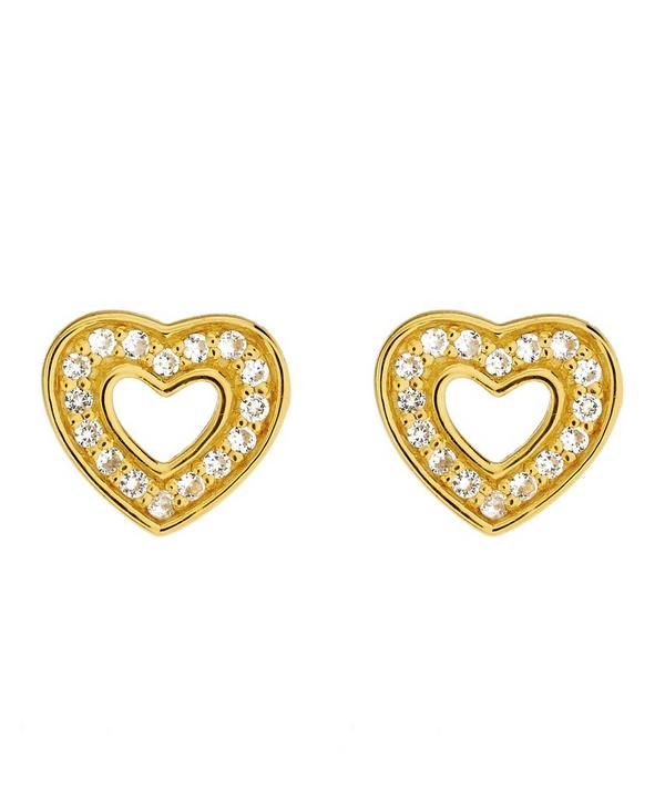 Gold-Plated Mini Heart Biography Stud Earrings