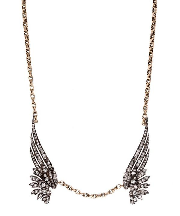 Antique Gold Old Cut Diamond Wings Necklace