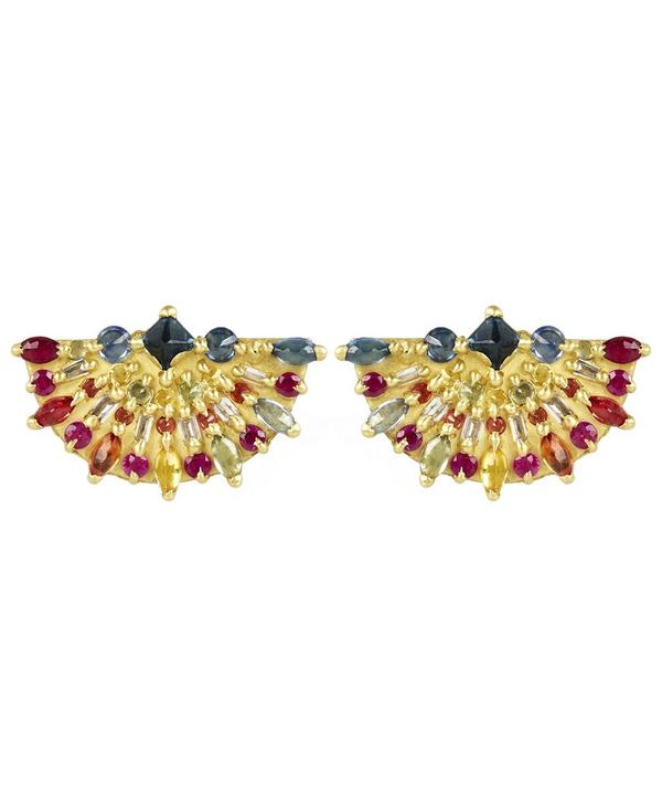 Gold Pinched Rainbow Sapphire Fan Earrings