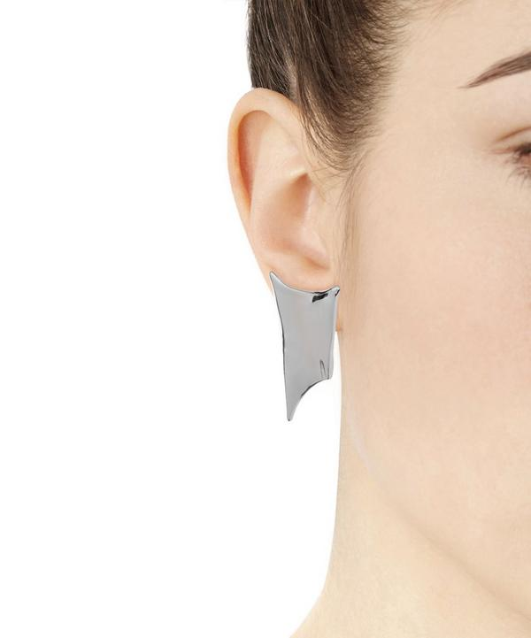 Polished Rhodium Pointed Clip-On Earrings