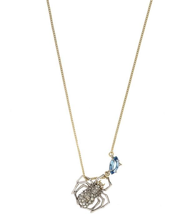 Silver-Plated Crystal Spider Pendant Necklace