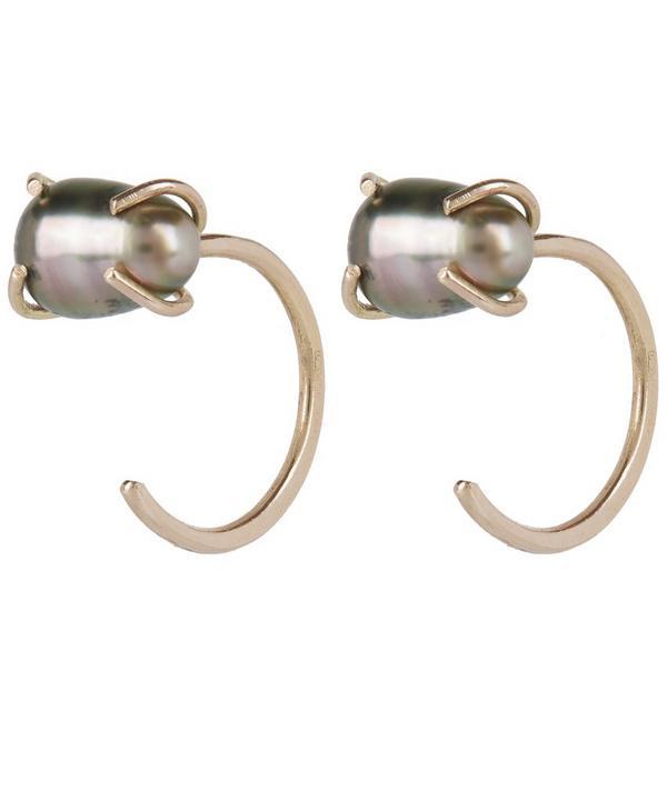 Gold Tahitian Pearl Hug Earrings