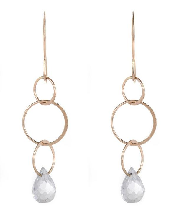 Gold White Topaz Drop Earrings