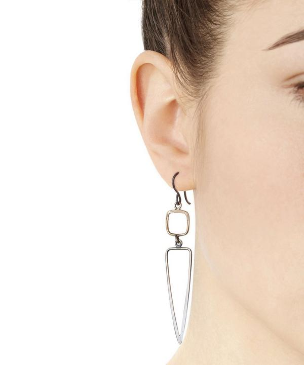 Gold and Silver Square and Dagger Drop Earrings