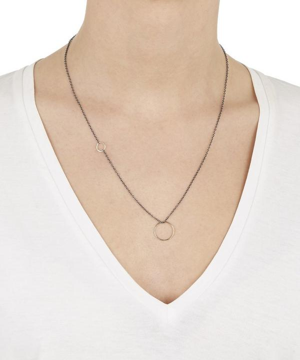 Gold Mixed Finish Multi-Hoop Pendant Necklace