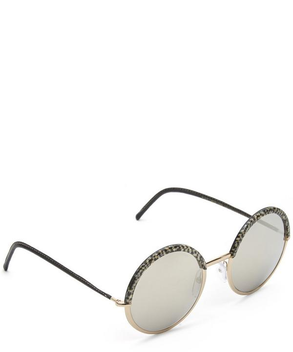 Round Leather Arm Sunglasses