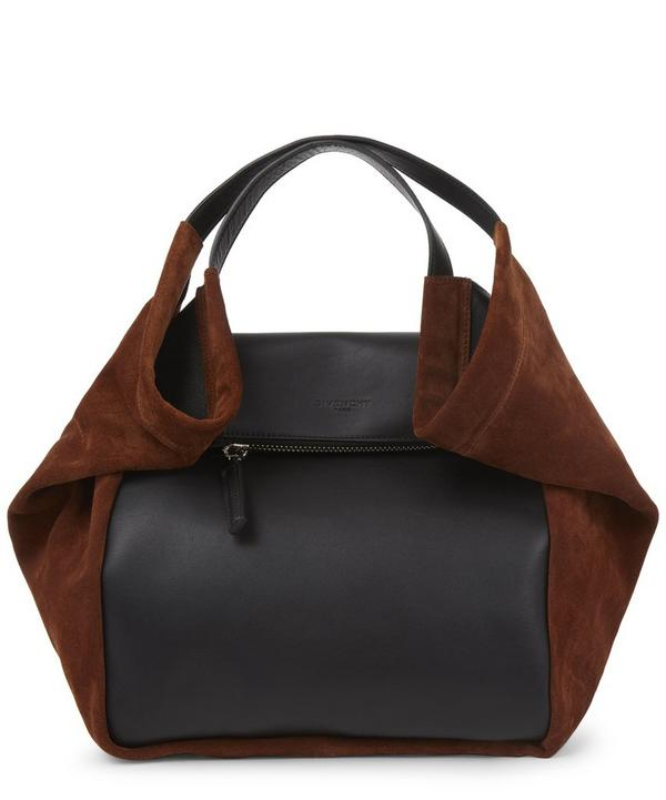 Slouchy Leather and Suede Shoulder Bag