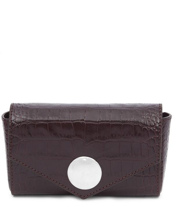 Crocodile-Embossed Leather Clutch Bag