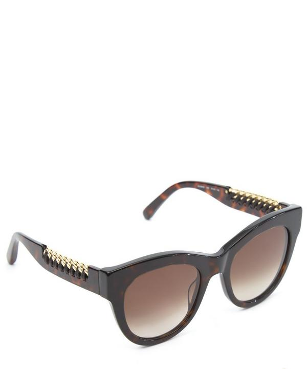 Havana Falabella Whipstitch Chain Square Sunglasses