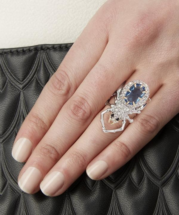 Rhodium-Plated Crystal Spider Ring