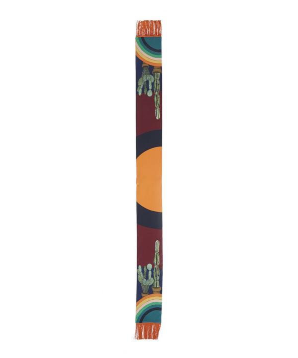 Cactus Rainbow Skinny Silk Scarf