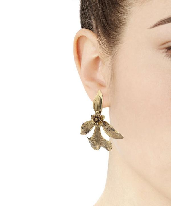 Gold-Plated Orchid Earrings