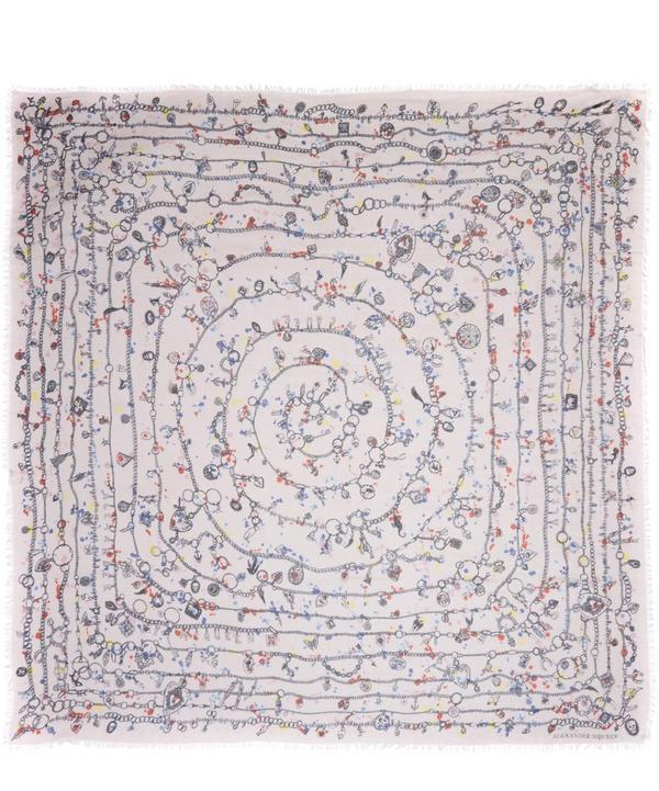 Heart Chain Splatter Print Silk Blend Scarf