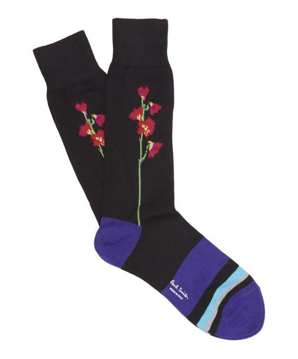 Colour Block Floral Socks