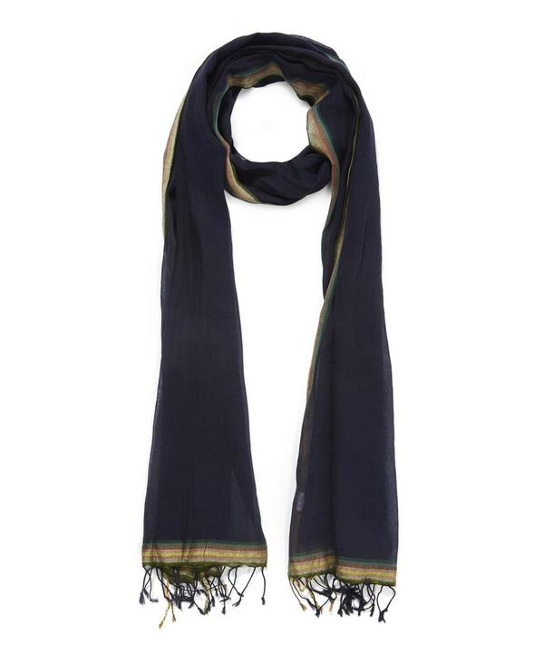 Edge Stripe Cotton Linen Scarf