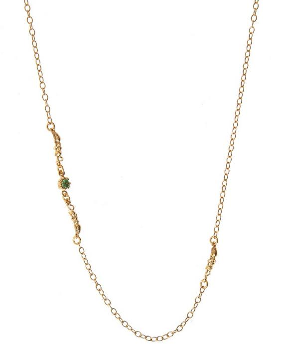 Gold-Plated Wood Ant Tsavorite Necklace