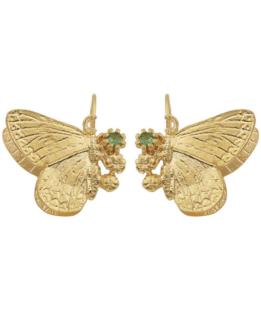Duke Burgundy and Tsavorite Cluster Hook Earrings