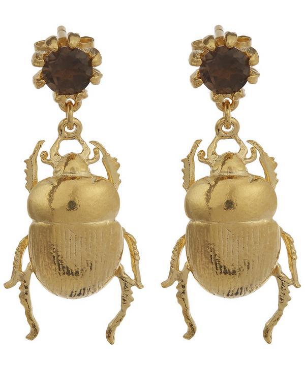 Dor Beetle and Smokey Quartz Stud Earrings