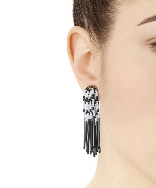 Beaded Stripe Fringe Earrings