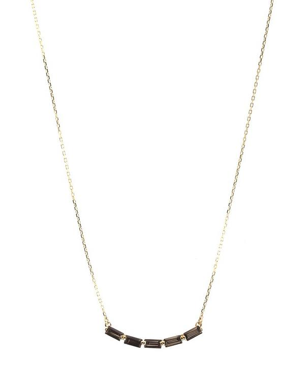 Gold and Black Night Quartz Baguette Row Necklace