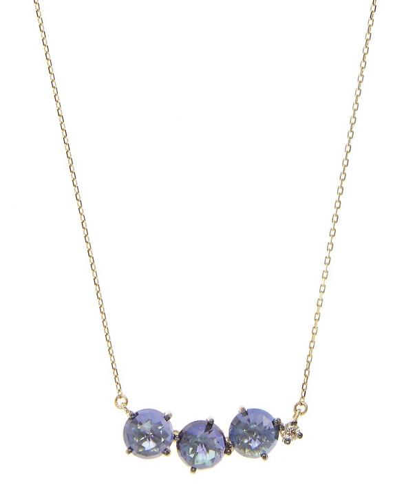 Gold and English Blue Topaz Circles Necklace