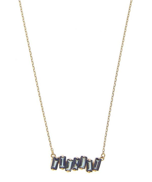 Gold and English Blue Topaz Baguette Bar Necklace