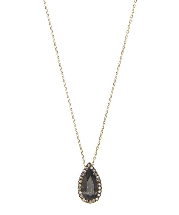 Gold and Black Night Quartz Pear Necklace