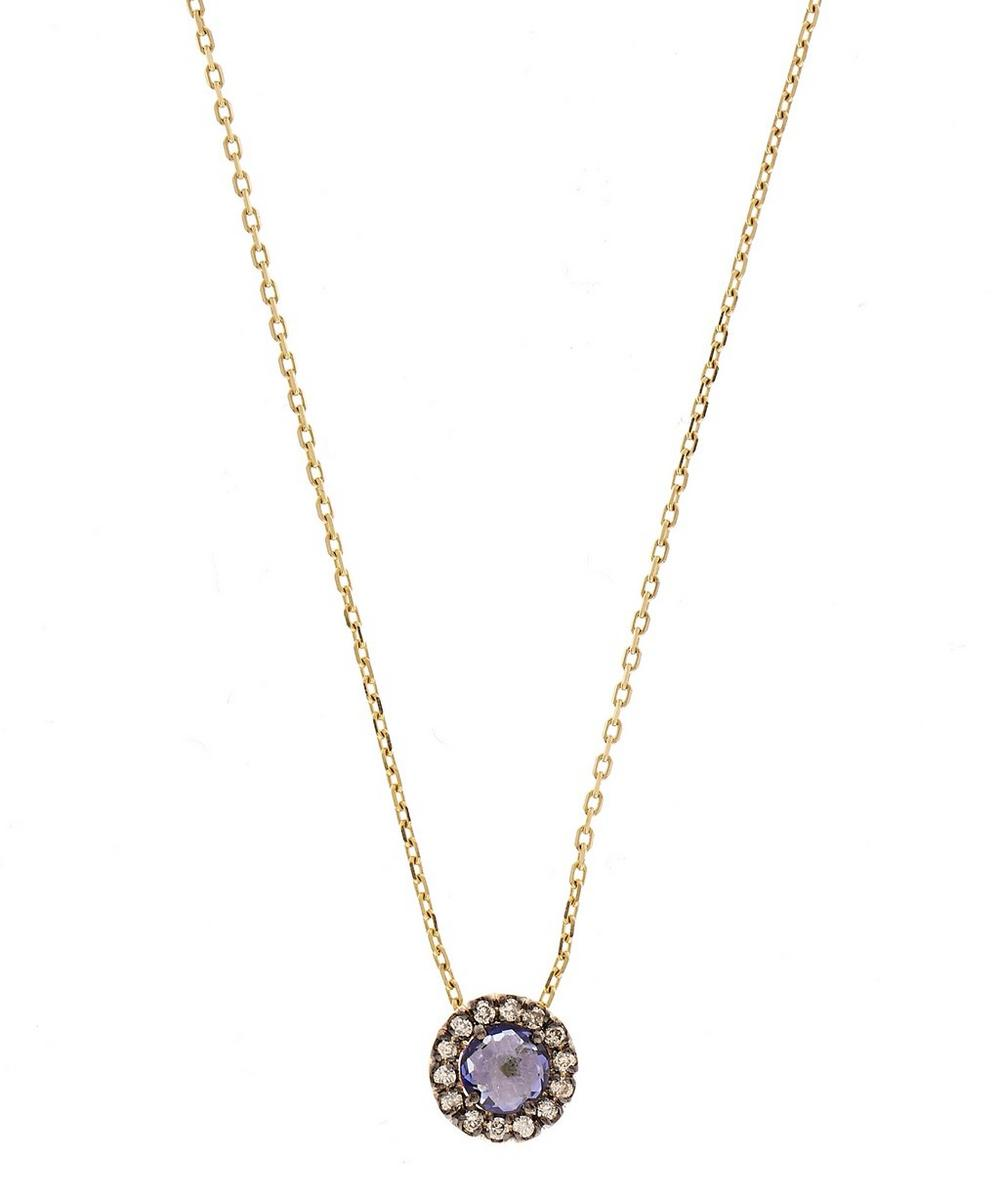 Gold White Sapphire and Amethyst Starburst Pendant Necklace