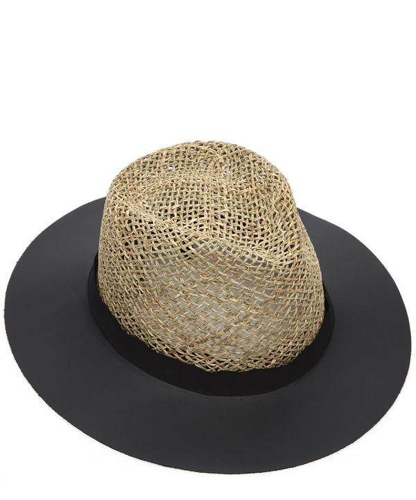 James Leather Brimmed Straw Hat
