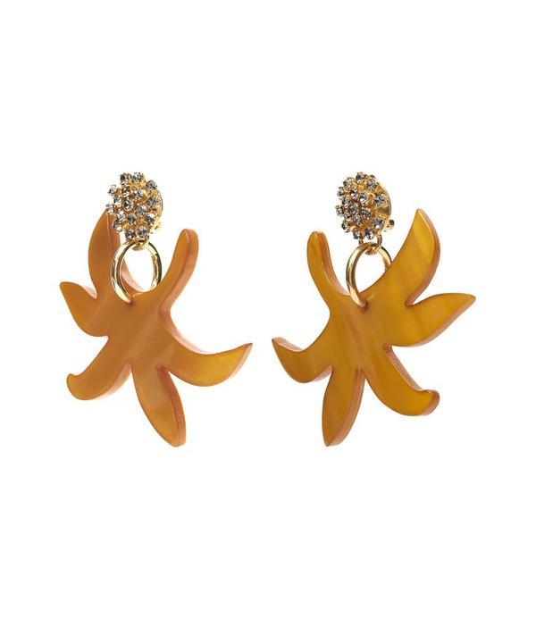 Horn Floral Crystal Clip-On Earrings