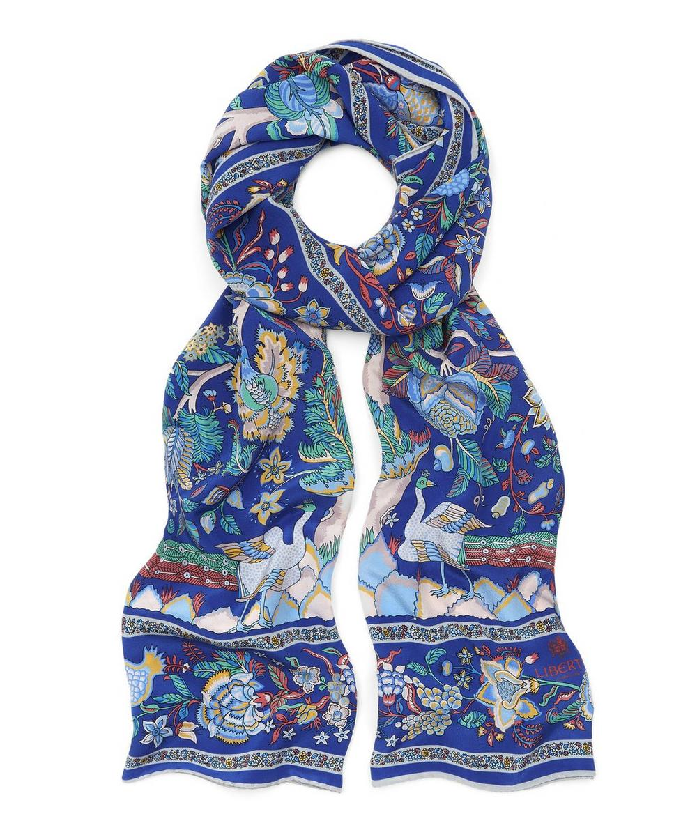 Tree of Life 70 x 200 Silk Crepe de Chine Scarf