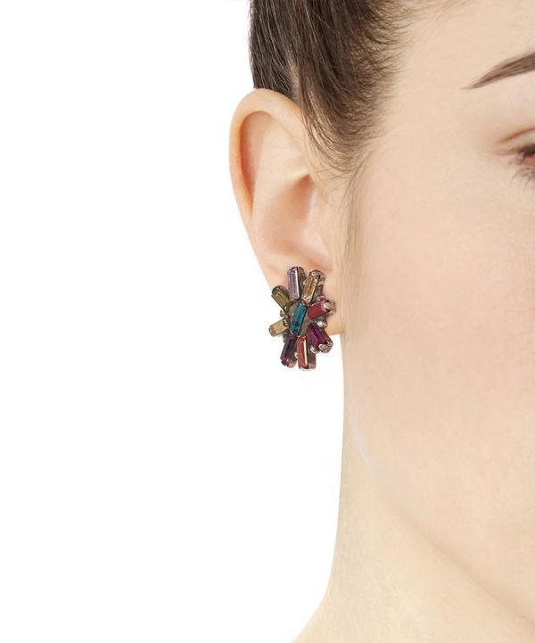 Oxidised Silver Amethyst Starburst Stud Earrings