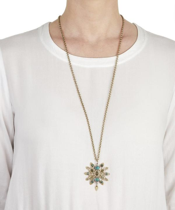 Antiqued Gold-Plated Long Pendant Necklace with Labradorite and Turquoise Stones