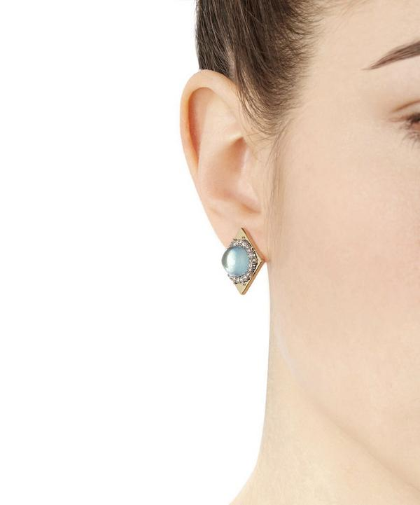 Gold Geometric Crystal and Blue Moss Lucite Stud Earrings