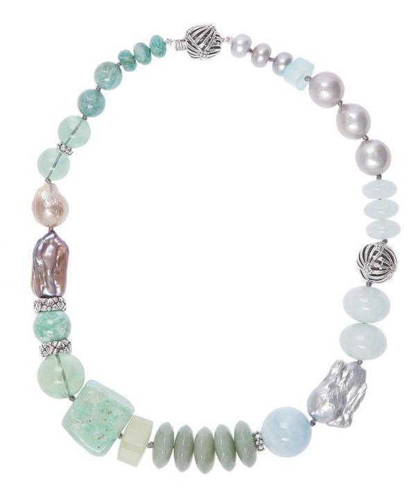 Silver Multi-Stone Pearl Necklace